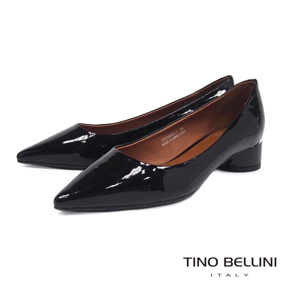 Tino Bellini 簡約鏡面牛漆皮中低跟鞋 _黑
