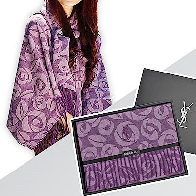 時時樂 YSL 凡爾賽玫瑰幾何圖樣大LOGO刺繡羊毛圍巾披肩禮盒(東京西川監製)