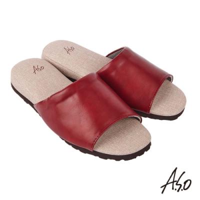 A.S.O 居家保健 抑菌減壓皮革健康舒適鞋-暗紅-3入組