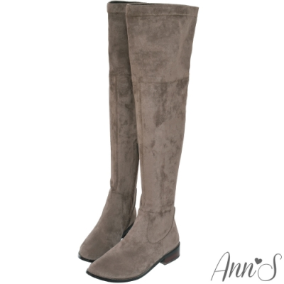 Ann'S 正常版-素面平底彈力側拉鍊防水絨布過膝靴-可可