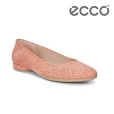 ECCO ANINE 輕彈躍芭蕾舞鞋 骨瓷皮革 女-粉紅