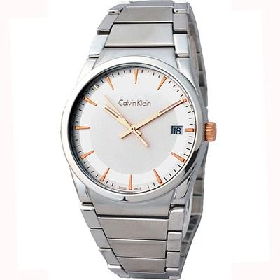 Calvin Klein ck Step 極簡紳士典藏時尚品味不鏽鋼腕錶(白色38mm)