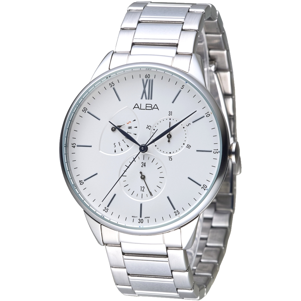 ALBA雅柏手錶 超越者三眼品味全月曆男錶-白(AZ8005X1)/43mm 保固二年