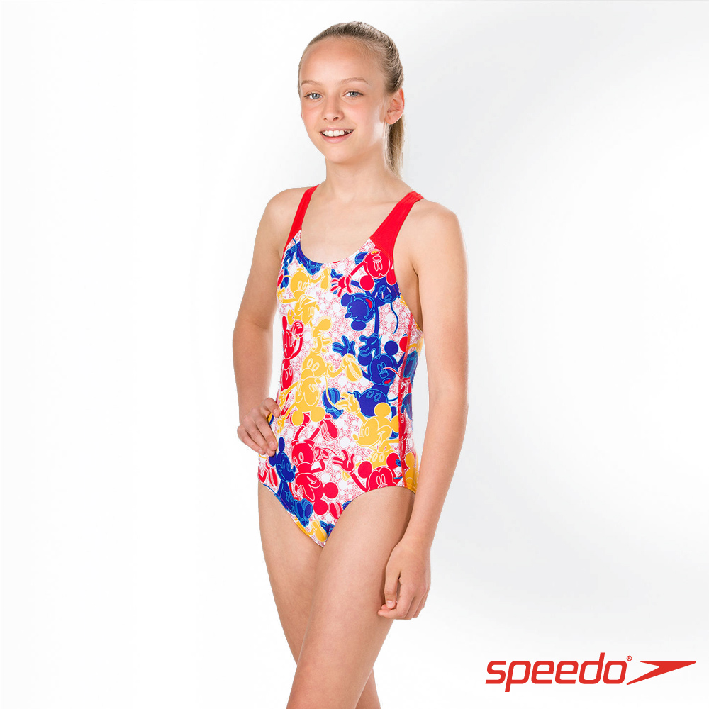 SPEEDO 女孩 運動連身泳裝 米奇 紅