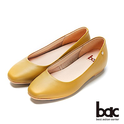 bac愛趣首爾- 簡約無內裡側邊愛心鑽飾內增高平底鞋-芥末黃