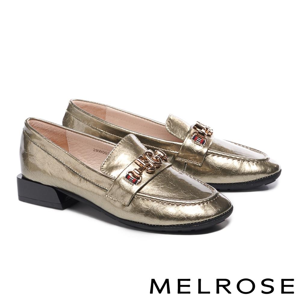 低跟鞋 MELROSE 復古知性金屬飾釦全真皮低跟鞋-金