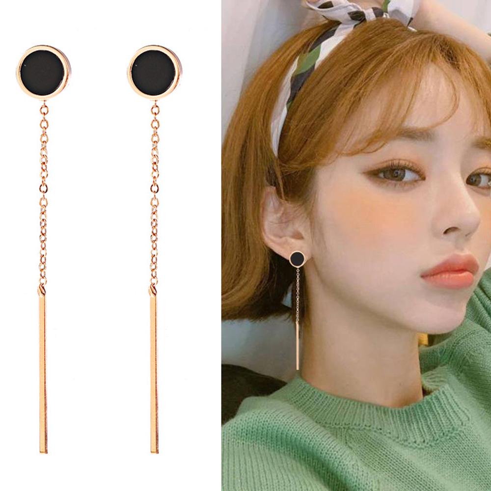 梨花HaNA 無耳洞韓國圓型黑金流蘇修飾長耳環夾式