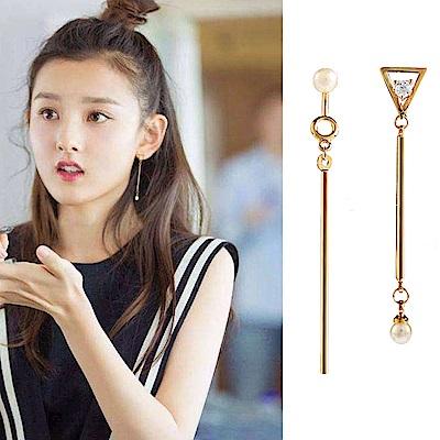 梨花HaNA 無耳洞韓國三角對比極簡耳環夾式
