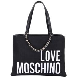 LOVE MOSCHINO Canvas 品牌字母編織鍊裝飾帆布購物包(黑色)