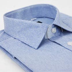 金‧安德森 仿舊藍底白線條窄版長袖襯衫fast