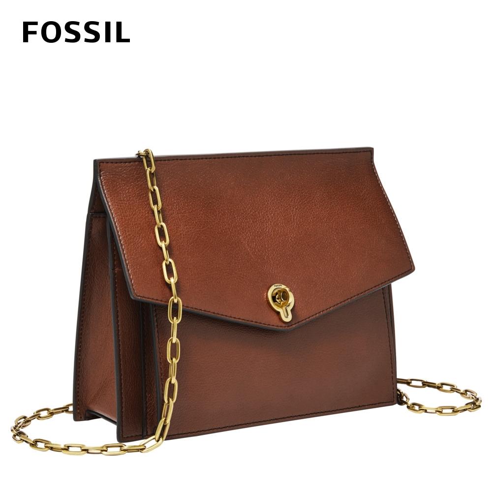 FOSSIL Stevie 都會簡約造型斜背小包-棕色 ZB7956200 (有前口袋)