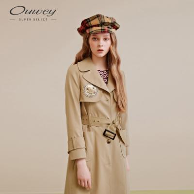 OUWEY歐薇 笑臉縫飾超挺版大衣(可)