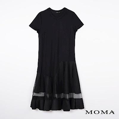 MOMA 下襬紗裙針織洋裝