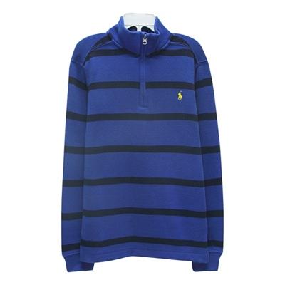 Ralph Lauren 童裝經典小馬1/4拉鍊條紋立領長袖針織衫-藍色(7歲)