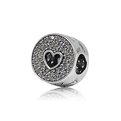 Pandora 潘朵拉 圓形鑲鋯周年慶祝愛心 純銀墜飾 串珠