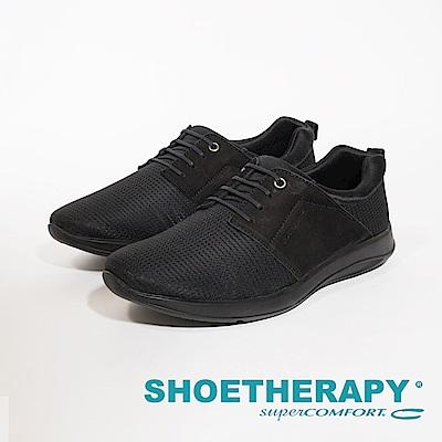 SAPATOTERAPIA 巴西型男針織布拼接皮革休閒鞋 男鞋-黑(另有藍)