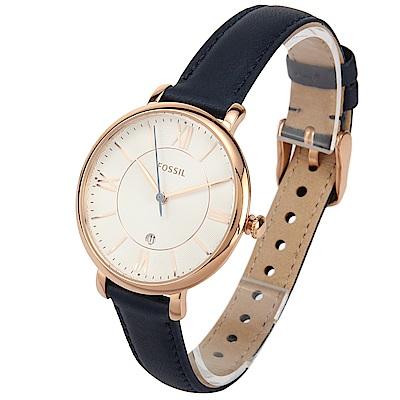 FOSSIL Jacqueline 羅馬時標海軍藍皮革腕錶-(ES3843)-36mm