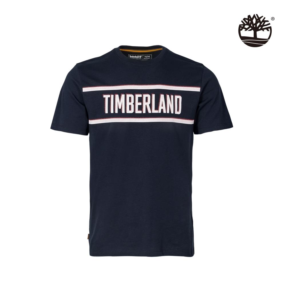 Timberland 男款深寶石藍色LOGO有機棉短袖T恤|A2DSV