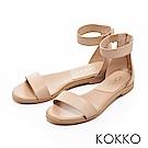 KOKKO-極簡主義繞踝平底一字涼鞋-杏裸膚