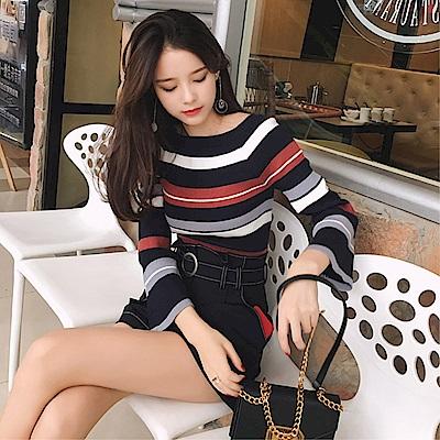 DABI 韓國風彩色條紋修身喇叭長袖上衣