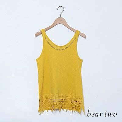 beartwo 簡約坑條設計線背心上衣(三色)