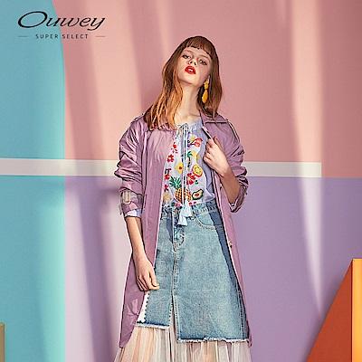 OUWEY歐薇 春色微落肩風衣外套(紫/可)