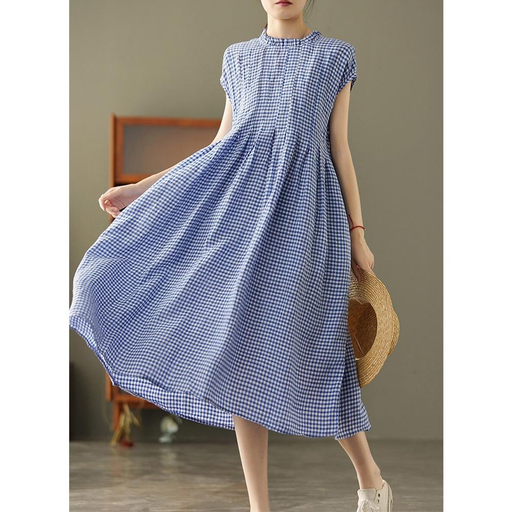 色織純亞麻褶皺花邊領洋裝三色可選-設計所在