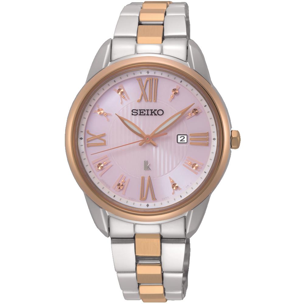 SEIKO精工 LUKIA廣告 美麗時光太陽能女錶(SUT362J1)-粉x雙色/33mm