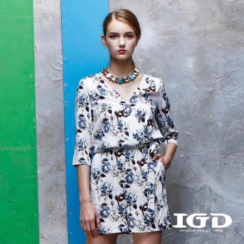 IGD英格麗 悠閒渡假風花卉印花連身褲