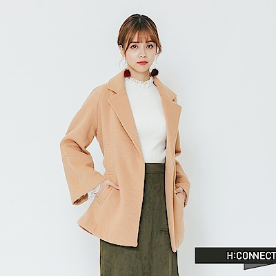 H:CONNECT 韓國品牌 女裝-知性翻領綁帶外套-棕