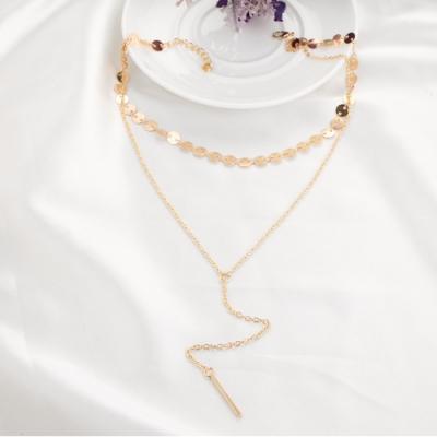 HERA 赫拉 歐美風簡約金屬感分層流蘇項鍊-2色