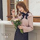 東京著衣-yoco 優雅姊姊波浪領撞色蝴蝶結上衣-S.M.L(共二色)