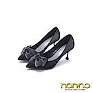 nonno 諾諾 高雅動人 氣質絲綢緞帶高跟鞋 黑