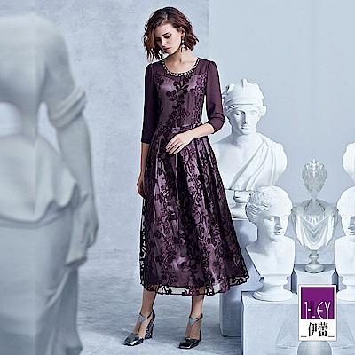 ILEY伊蕾 雪紡拼接燒花布長版洋裝(紫)