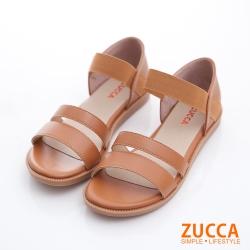 ZUCCA-素純色皮革平底涼鞋-駝-z6806lc