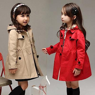 小衣衫童裝 淑女氣質款可拆帽子長袖風衣外套1070823