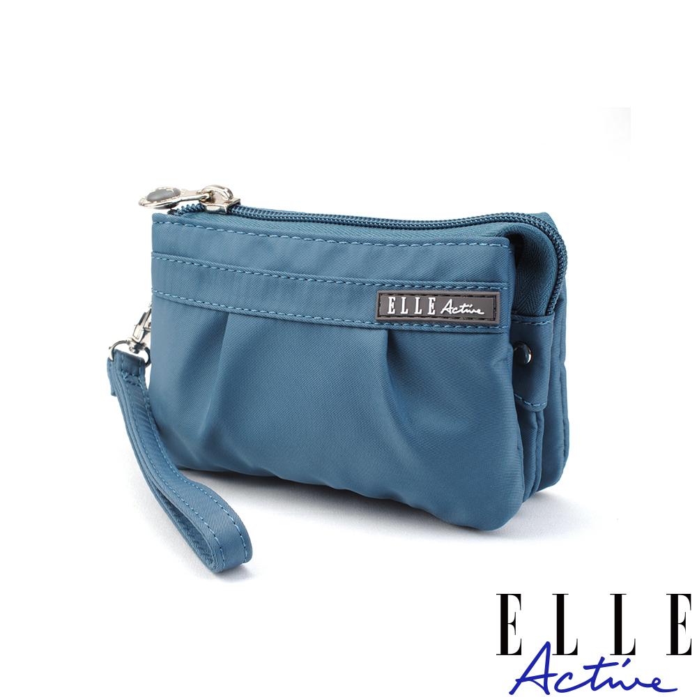 ELLE Active 優雅隨行系列-多夾層零錢包/手腕包/手拿包-藍灰色