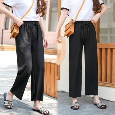 【韓國K.W.】(預購)時尚首選冰絲高腰褲-3色