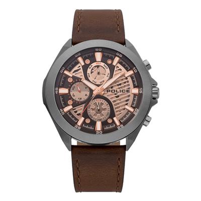 POLICE時光迴紋時尚三眼腕錶-棕X灰(15654JSU-04)/47mm
