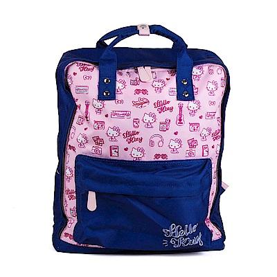 Sanrio HELLO KITTY大開口防潑水輕量後背包(手繪旅行)