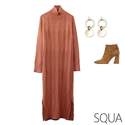 SQUA 六角織紋開叉針織洋裝-二色