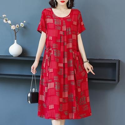 [韓國K.W.]獨家款脣紅齒白涼爽舒適洋裝