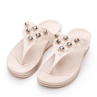 River&Moon防水鞋 簍空寶石彈力夾腳厚底涼拖鞋 奶茶杏