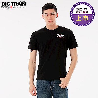 BigTrain加大LOGO文字圓領短袖T-男-黑色