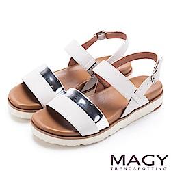 MAGY 休閒時尚舒適 雙帶牛皮撞色平底涼鞋-白色