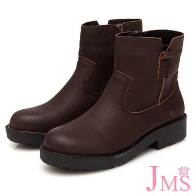 JMS-簡約車線造型側V口短靴-咖啡色