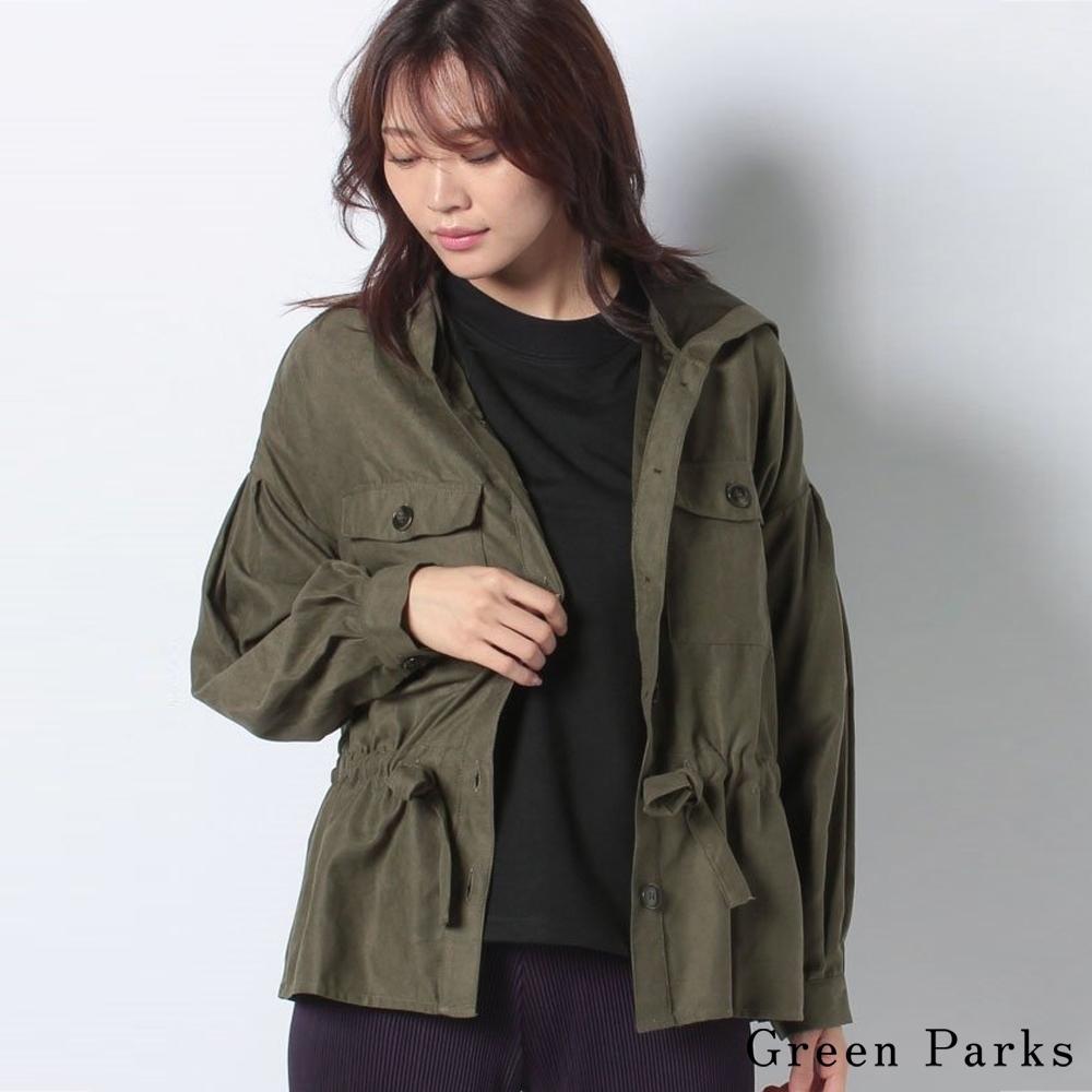 Green Parks  綁帶腰身連帽襯衫上衣