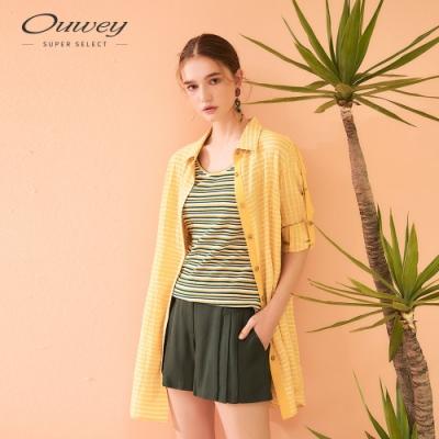 OUWEY歐薇 立體格紋字母膠印長版外套(黃)