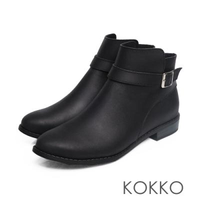 KOKKO - 暖暖依偎繞帶圓頭牛皮中筒短靴 - 經典黑