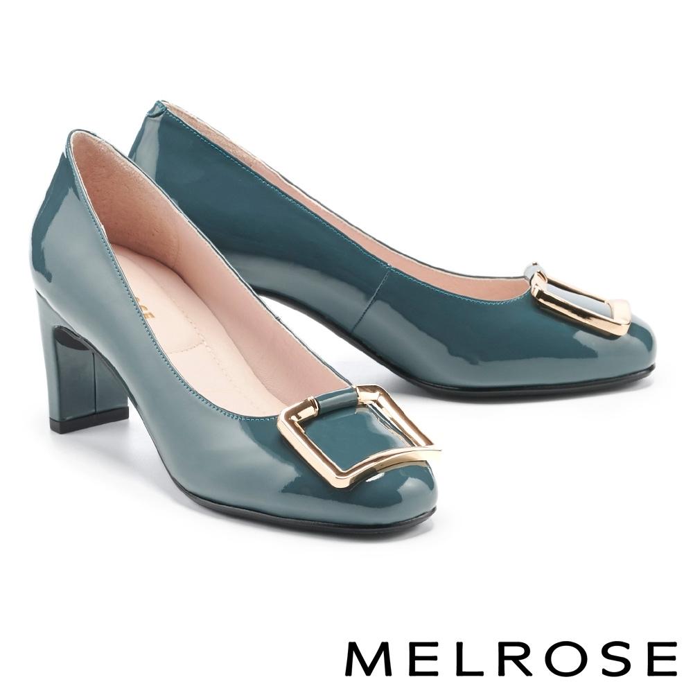 高跟鞋 MELROSE 知性典雅金屬方釦微方頭高跟鞋-綠
